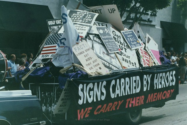 "Los Angeles Pride-""Signs Carried By Heroes-We Carry Their Memory""-- Trailer full of protest signs once carried by those who have deceased, 1993"