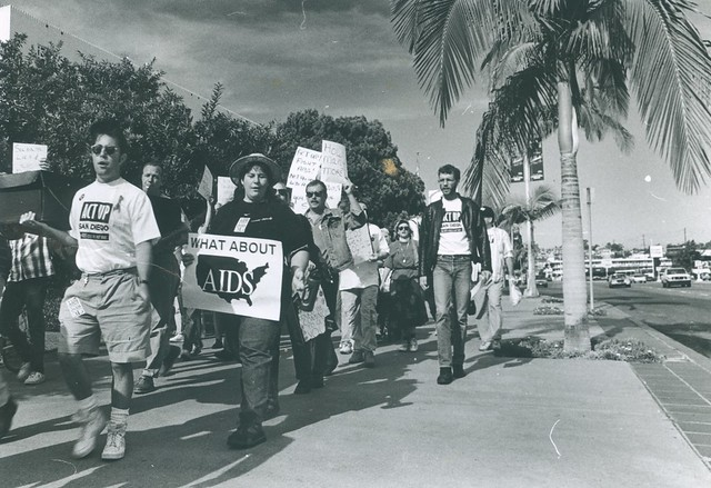 Wendy Sue Biegeleisen(holding sign) at Act-Up protest, 1992
