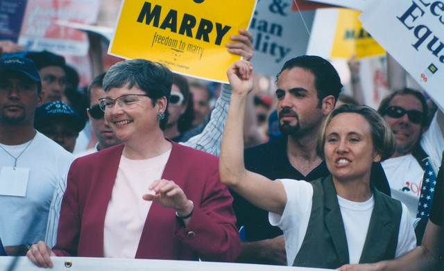Christine Kehoe, Tony Valenzuela and Brenda Schumacher at Freedom to Marry Rally, 1996
