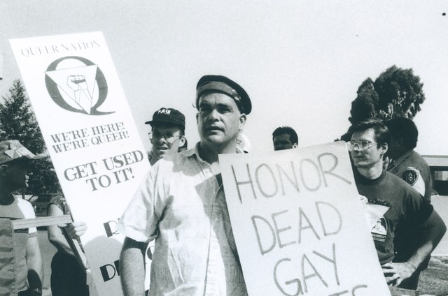 Protesting Military Ban on LGBT service members, Queer Nation and  Gay Veterans group gather outside North Gate at Miramar Naval Air Station, 1992