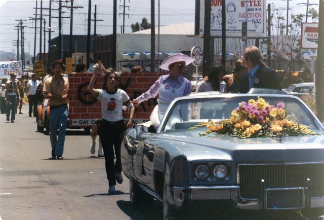 Gloria Johnson and Jess Jessop as co Grand Marshalls in San Diego Gay Pride Day Parade, 1977