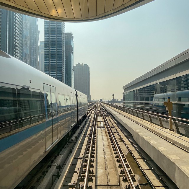 First picture of the Dubai metro photo series. All trains are fully automated and driverless (and mostly above ground), which makes for an unbelievable view on the Dubai skyline. Tip: buy a gold class day pass to have the view at one end of the train (or