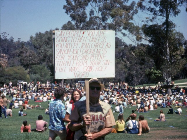 Fundamentalist protester at San Diego gay Pride Day Rally, 1977