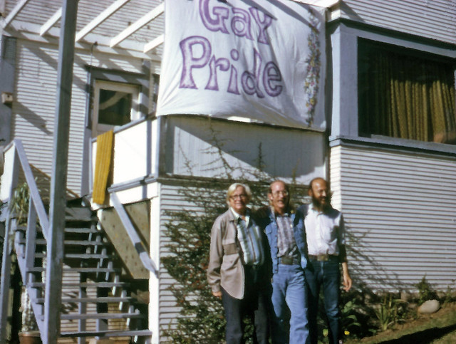 "Robert ""Jess"" Jessop""(center) and Morris Kight(left) in front of first San Diego Gay Center for Social Services, 1973"