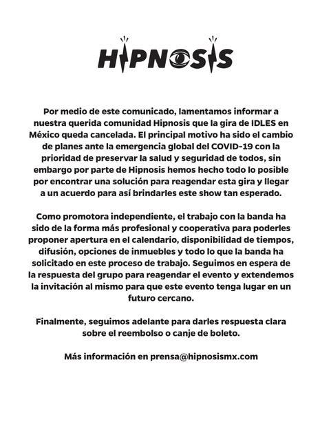 Hipnosis IDLES CANCELADO