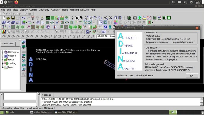 Working with ADINA System 9.6.0 full