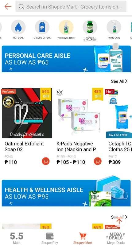 Shopee Mart Prsonal Care, Health and Wellness Aisle