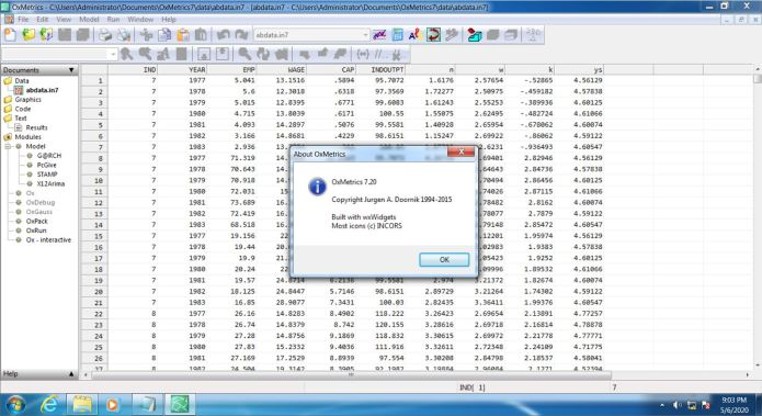 Working with OxMetrics 7.2 Enterprise Edition full license