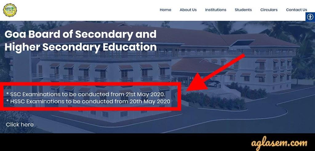 Goa Board HSSC Exam 2020 Date