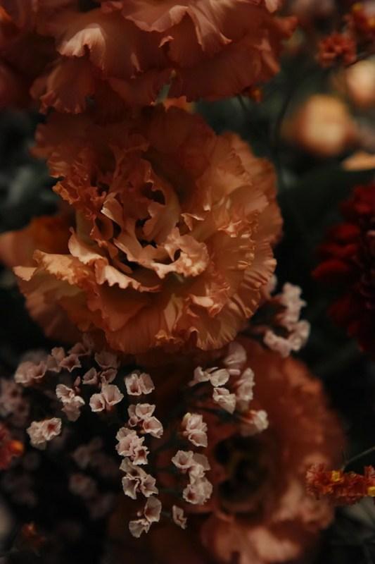 teal & orange seasoned flower