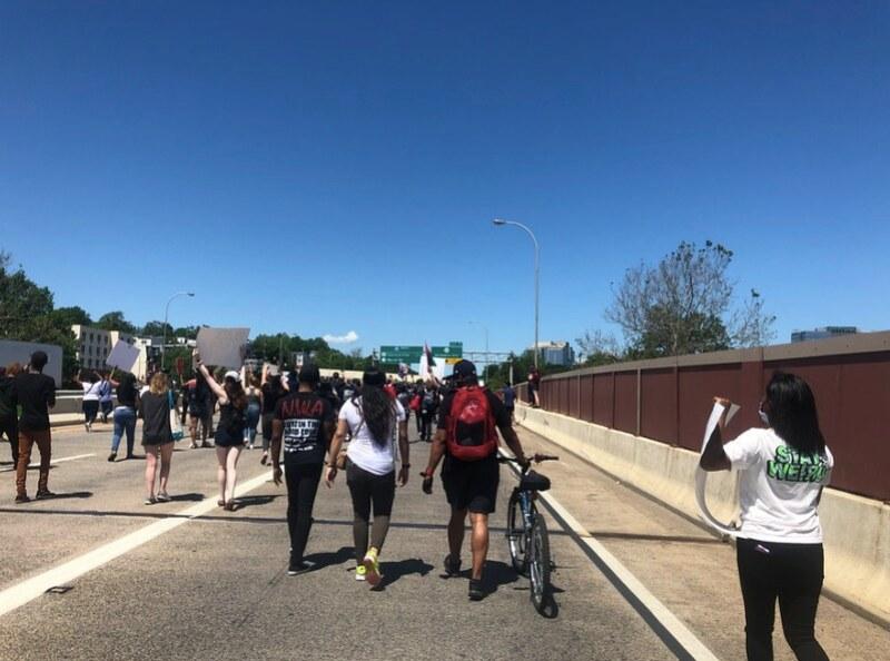 Protestors in the I-95