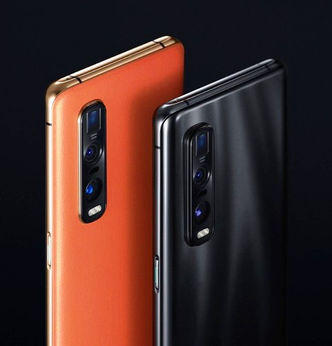 Oppo Find X2 Pro in Orange Vegan Leather and Ceramic Black