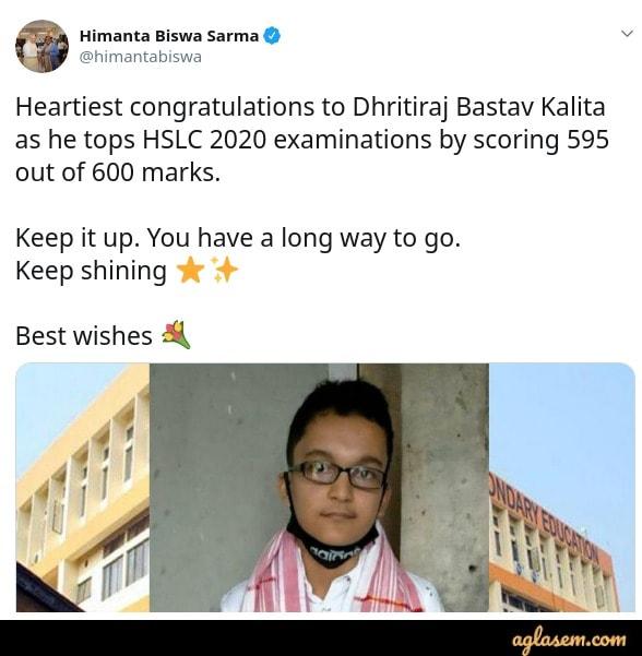 Assam HSLC toppers 2020