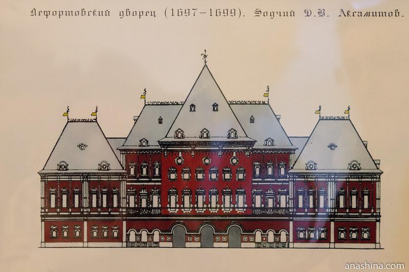 Первоначальный облик Лефортовского дворца, реконструкция