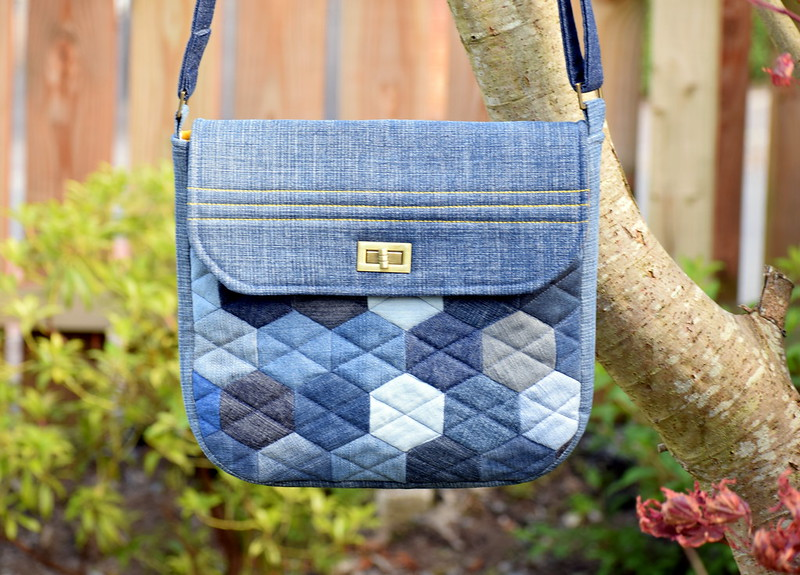 Denim Hexie Messenger Bag