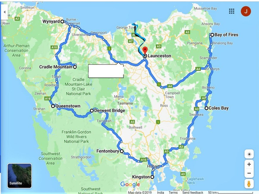 First picture - Tassie driving route map - Leisurely Drives