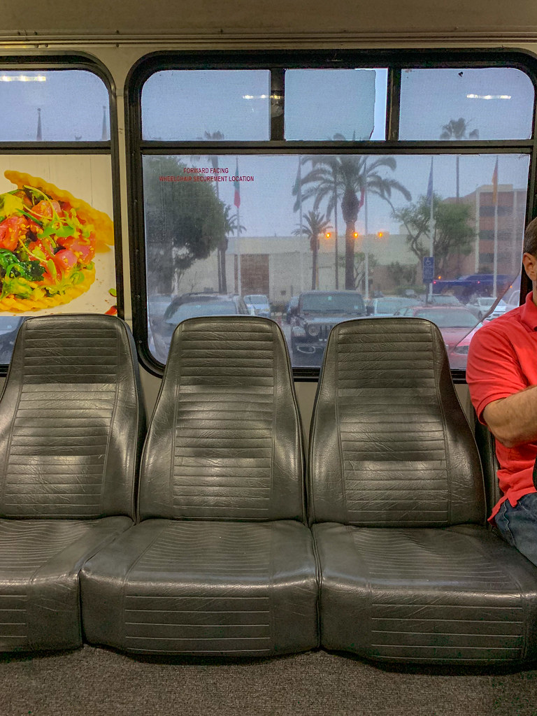 3 empty shuttle bus seats LAX