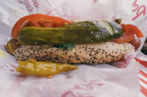 Chicago style hot dog at Portillo's, Chicago