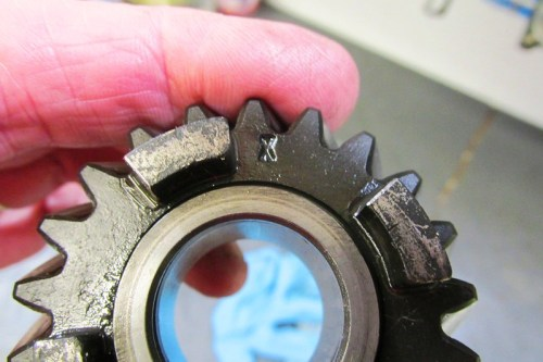 """Output Shaft 5th Gear """"X"""" Indicates 17.5 Degree Helix"""