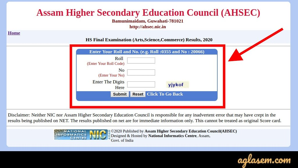 AHSEC Result for Class 12