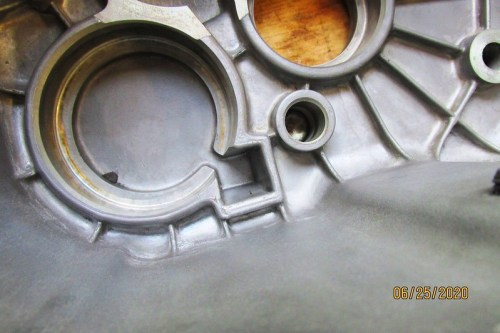 Rectangular Recess Holds Oil Channel To Front Intermediate Shaft Bearing