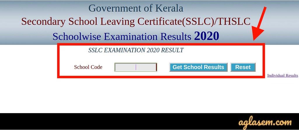 Kerala SSLC Result 2020 School wise