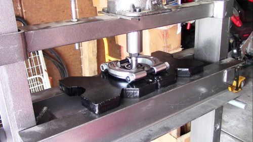 Press Rear Bearing Off Output Shaft with Hydraulic Press