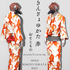 [r-l-f]+*NAMINOKE*Kingyo Yukata for male red