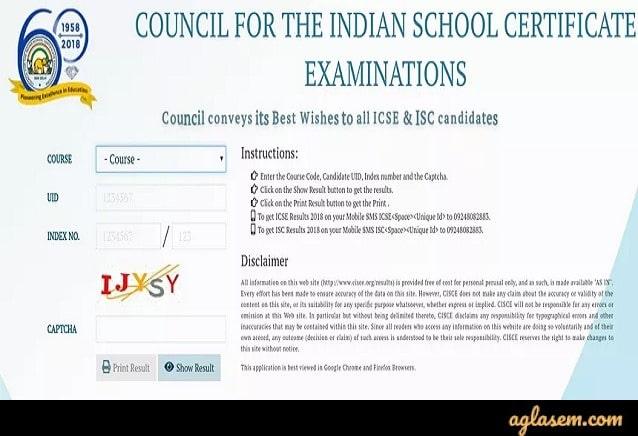 ICSE exam results login