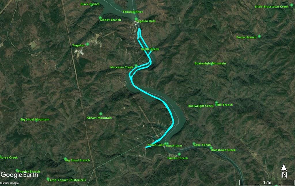 Lake Yonah Paddle Route