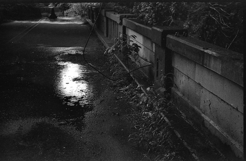 rainstorm, under the interstate, abandoned bridge, raindrops, puddle, Asheville, NC, FED 4, Industar 61, Fomapan 200, Moersch Eco film developer, 7.1.20