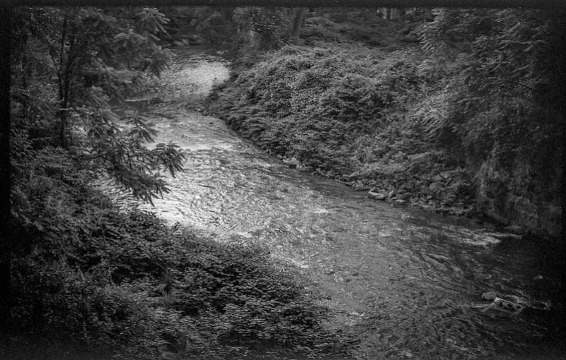 looking down, distant rapids II, French Broad River, Asheville, NC, FED 4, Industar 61, Fomapan 200, Moersch Eco film developer, 7.1.20