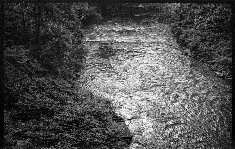 looking down, distant rapids, French Broad River, Asheville, NC, FED 4, Industar 61, Fomapan 200, Moersch Eco film developer, 7.1.20