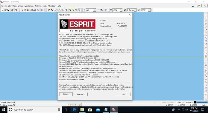 Working with Esprit 2020 R1 (19.20.201.2400) full license