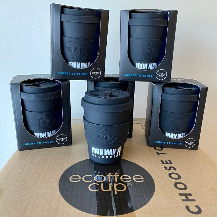 Iron Man Records Reusable Bamboo Coffee Cup - Ecoffee Cup Kerr & Napier 12oz / 350ml Black
