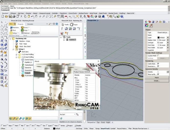 Working with MecSoft RhinoCAM 2018 (v8.0.28) for Rhino6 x64 full license