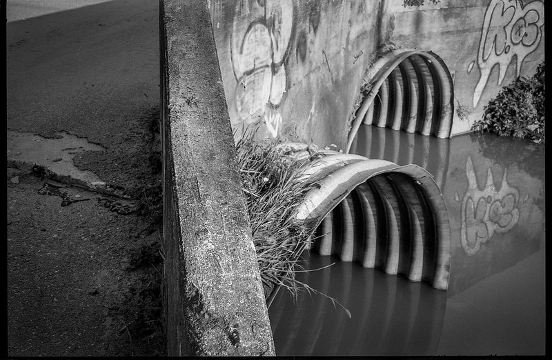 culvert structures, concrete bridge, paved roadway, urban decay, near Asheville Waste Paper Company, Asheville, NC, Minolta XG-M, Fomapan 200, Moersch Eco film developer, 8.1.20
