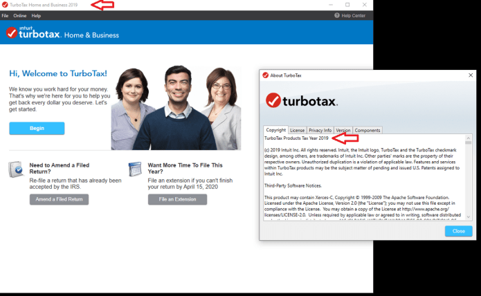 Working with Intuit TurboTax Home & Business 2019 v2019.41.12.202