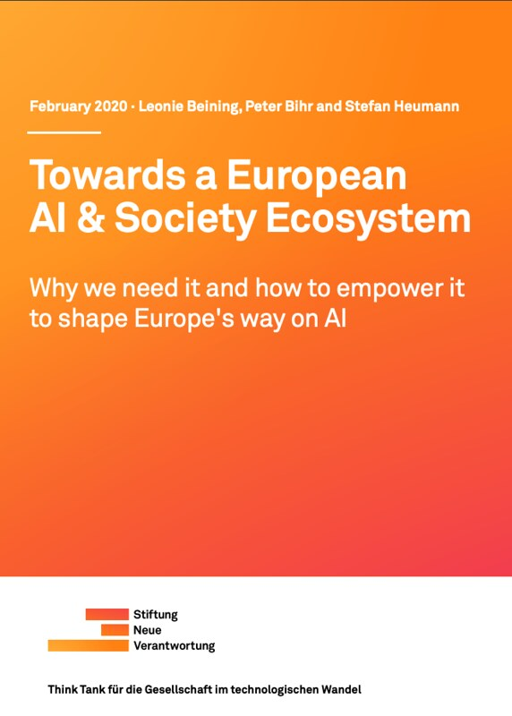 "New Report: ""Towards a European AI & Society Ecosystem"""