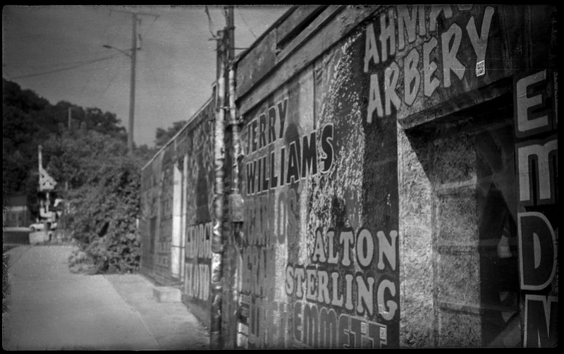 urban decay, railroad district, Asheville, NC, Kochmann Korelle folding camera, Schneider Kreuznach Xenar 75mm f-4.5 lens, Rera Pan 100S, HC-110 developer, 8.4.20