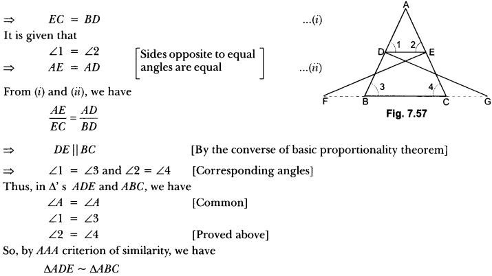 Triangles Class 10 Extra Questions Maths Chapter 6 with Solutions Answers 74
