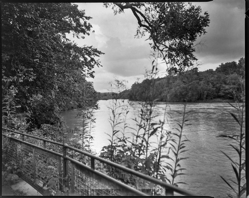 French Broad River, Biltmore Estate, Asheville, NC, Graflex Crown Graphic, Graflex Optar 90mm f/6.8, Bergger Pancro 400, HC-110, 8.15.20