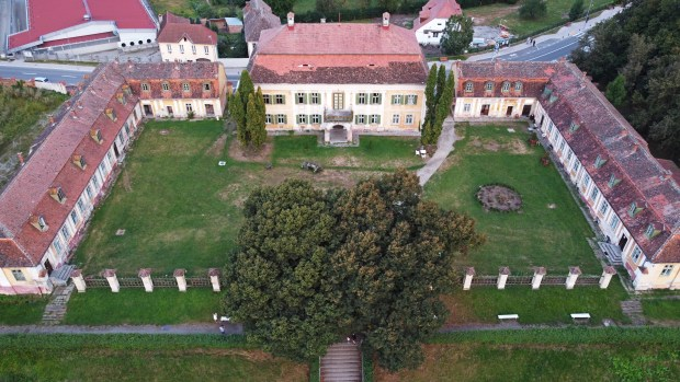 Aerial view of the Brukenthal Summer Palace, Avrig