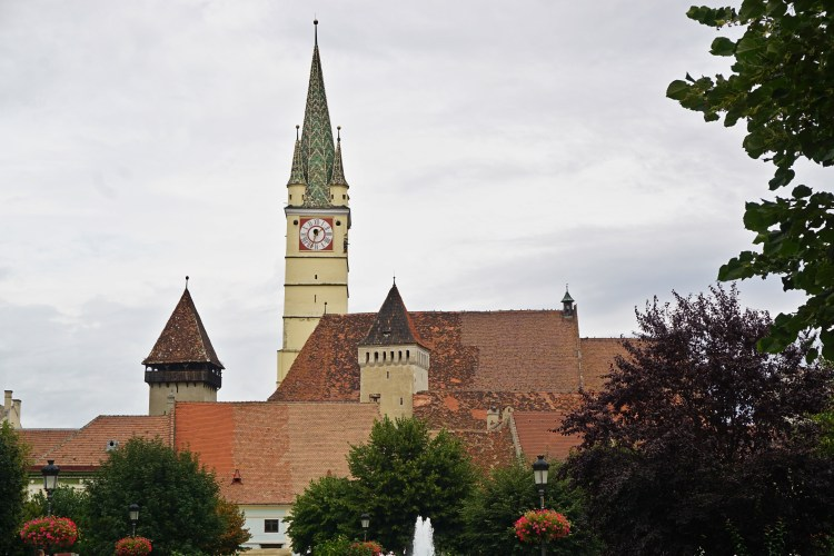 The historic center of Mediaș, dominated by St. Margaret's Church