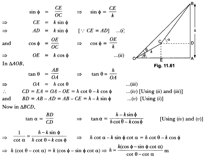 Some Applications of Trigonometry Class 10 Extra Questions Maths Chapter 9 with Solutions Answers 62