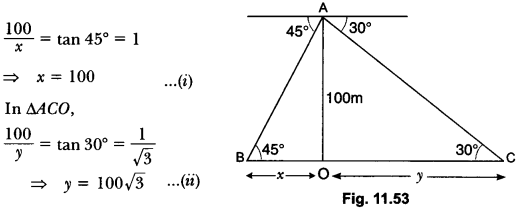 Some Applications of Trigonometry Class 10 Extra Questions Maths Chapter 9 with Solutions Answers 52