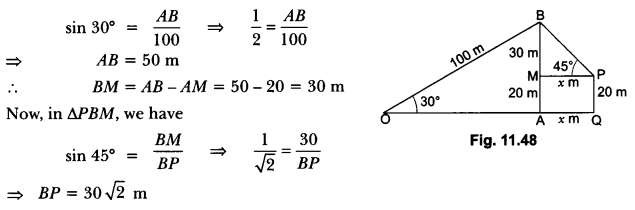 Some Applications of Trigonometry Class 10 Extra Questions Maths Chapter 9 with Solutions Answers 45