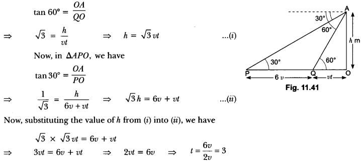 Some Applications of Trigonometry Class 10 Extra Questions Maths Chapter 9 with Solutions Answers 35