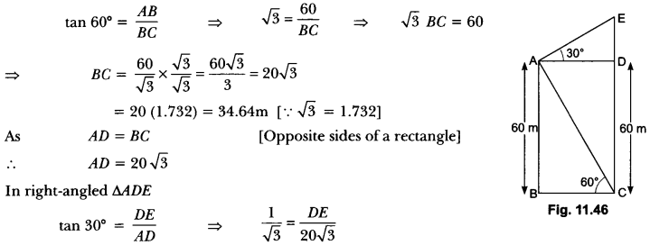 Some Applications of Trigonometry Class 10 Extra Questions Maths Chapter 9 with Solutions Answers 43