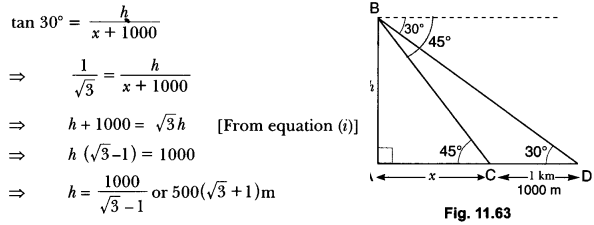 Some Applications of Trigonometry Class 10 Extra Questions Maths Chapter 9 with Solutions Answers 64